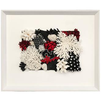 Frame white - white border, filled, uncovered - coral black, red and white
