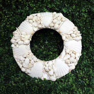 Wreath shell round scallop and assorted white shells